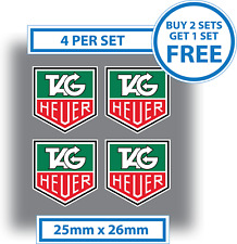 4 X Tag Heuer Stickers 25 mm x 26 mm Vinyle Logos decals racing rally voiture insignes