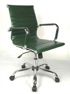 Vintage Retro GREEN Ribbed Faux Leather Classic Designer Office Chair