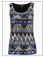 Womens Sleeveless Top Black, Silver & Blue Sequin Pattern Ladies Vest Top BNWT