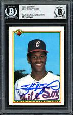 Sammy Sosa Autographed 1990 Bowman Rookie Card #312 White Sox Beckett 12409946