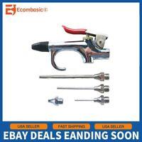 5pc Air Compressor Blow Gun Tool Kit 3 Nozzles Inflation Needle Spray Blower Set