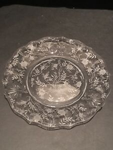 """Fostoria Chintz etched 7 1/4"""" plate on baroque blank"""