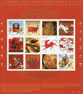 Canada Chinese Lunar New Year Stamps 2021 MNH Year of Ox Rat Pig Dragon 12v M/S