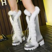 Womens Lace Up Cuban Heel Fur Trim Winter New S8 Knee High Boots Shoes ALL US Sz