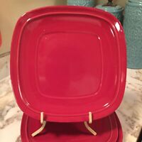 Canopy Red Square 8 Inch Salad Plates Set Of Four