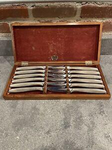 Vintage Gerber Miming Legendary Blades Steak Knives Set of 12 in Wooden Case