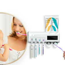 UV Light Sterilizer Toothbrush Holder Automatic Toothpaste Dispenser Wall Mount