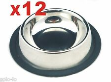 12 x Pet Dog Cat Feeding Drinking Bowl Stainless Steel Bulk Lots BRAND NEW