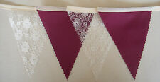 Burgundy & Ivory Lace fabric bunting Wedding Party flags Decoration 1mt or more