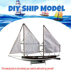 DIY 1:48 Scale Wooden Sailboat Ship Kits Home Model Boat Decoration Kids Toys