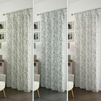 FLORAL LEAVES LEAF SLOT TOP SOFT FOLD SHEER VOILE NET CURTAIN PANEL/S 3 COLOURS