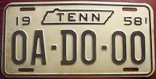 1958 TENNESSEE USA SAMPLE ALL ZEROS LICENSE PLATE AUTO TAG OA-DO-00 TENN TN MAP