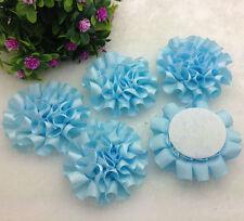 5pcs sky blue satin ribbon big Peony Flower Appliques/craft/Wedding decoration