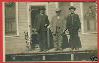 RPPC THREE MEN ON WOOD PORCH SCREEN DOOR RP  POSTCARD