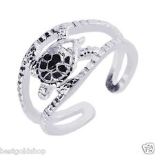 Ring Real Solid 925 Sterling Silver Adjustable Nautical 3D Sea Turtle Top Toe