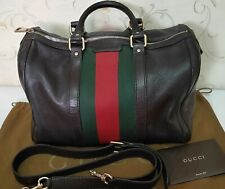 Authentic Gucci Vintage Medium Web Red and Green Stripes Boston Bag