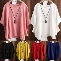 Women Solid Loose Batwing Sleeve Baggy Cotton T-Shirt Summer Casual Blouse Tops