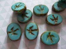 Czech Glass Bird Beads 16 X12mm Opaque Turquoise Silk w Brown Picasso Rims Qty 4