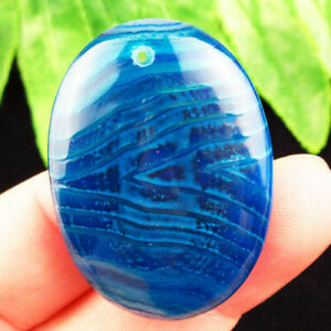 Blue Onyx Agate Oval Pendant Bead 39x29x6mm R54517