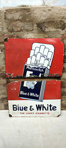 Vintage Marcovitch Blue & White The Lucky Cigarette Enamel Sign 1930s