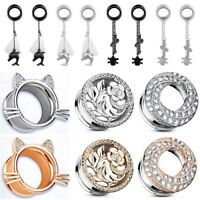 Pair Ear Gauges Stainless Steel Dangle Flesh Tunnels Plugs Body Piercing Jewelry