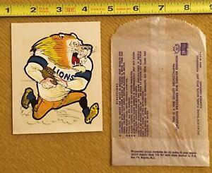 1970's Impko Water Decal Detroit Lions Unused Vtg NFL Mascot Bright Beauty w/Bag