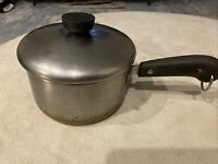 Vintage 1801 Revere Ware Double Ring Copper Bottom 2qt Sauce Pan Pot Stainless