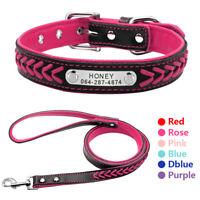 Personalisiert Hundehalsband & Leine mit Namen Leder Halsband Welpenkragen XS-XL