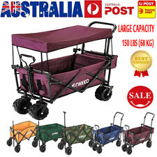 ENKEEO Foldable Wagon Collapsible Beach Trolley Sport Outdoor Garden Hiking QSDT