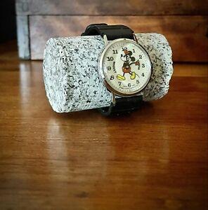 "Vintage Bradley ""Pie Eyed"" Mickey Mouse Mechanical Watch #47 Walt Disney"
