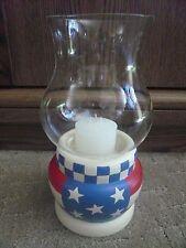 Vintage American Flag Candle Holder Candelabra Lantern Lamp Light 4th Of July