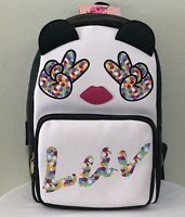Betsey Johnson Backpack Peace Sign Shoulder Bag Black White School Travel NWT