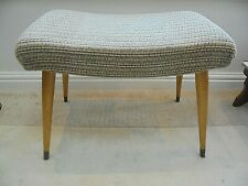 Vintage mid century modern mcm dressing table stool, original beige sprung seat