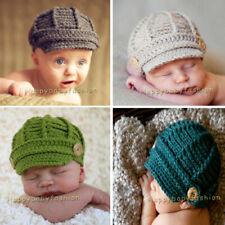 Baby Boys Crochet Beanie Cap Hat 0-3, 3-6 months Photography Props Cotton Yarn