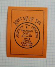 1941 American Congress Philatelic Hotel Statler Boston Ma Souvenir Label Ad