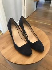 M&S Autograph Womens Blue Suede Mid Heel Stiletto Court Shoe Size uk 7 EU 40