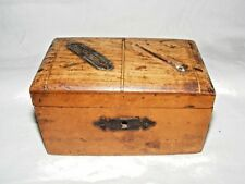 More details for antique wooden collection box offertory alms, 2 slots