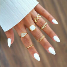 6Pcs Crystal Crown Women Gold Above Knuckle Fashion Finger Ring Band Midi Rings