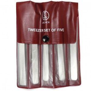 Stainless Steel Set of 5 Tweezers Watch Watchmakers Jewellers - HT465