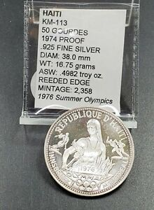 """1974 Haiti  50 Gourdes """"Montreal Olympics""""  Proof Silver Coin"""