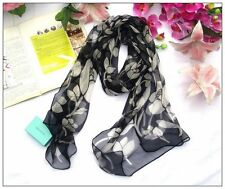 Long Silk Scarf  Black and White Theme QQL064