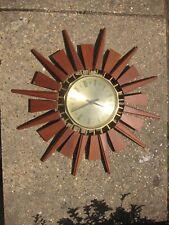 Vintage Retro Teak Mid Century Sunburst Wall Clock by Anstey & Wilson 60s 70s