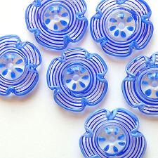 RachelArt Cobalt Glas Beads Lampwork Flowers Spiral Handmade Disc