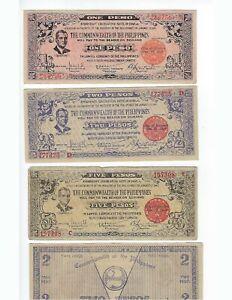 PHILIPPINES  GUERILLA WORLD WAR II  NEGROS OCCIDENTAL  1,2, & 5 PESOS  VF-UNC