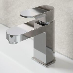 Modern Bathroom Mono Basin Sink Mixer Tap Chrome Single Lever Curved Cloakroom