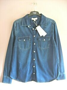 Per Una Size 16 Denim Blue 100% Cotton Long Sleeved Jean Style Shirt NEW