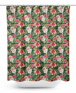 S4Sassy Green Stripe & Grandiflora Roses Floral Decorative Waterproof-a6f
