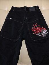 Men's Jnco Vintage Fire Skull Head Black Denim Straight Leg Jeans Size 30X30 EUC