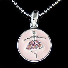 PINK w Swarovski Crystal BALLERINA Ballet Girl Pendant Charm Chain Necklace Xmas