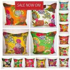 Indian Ethnic Cotton Floral Kantha Cushion Cover Covers Handmade 16x16 decor 40